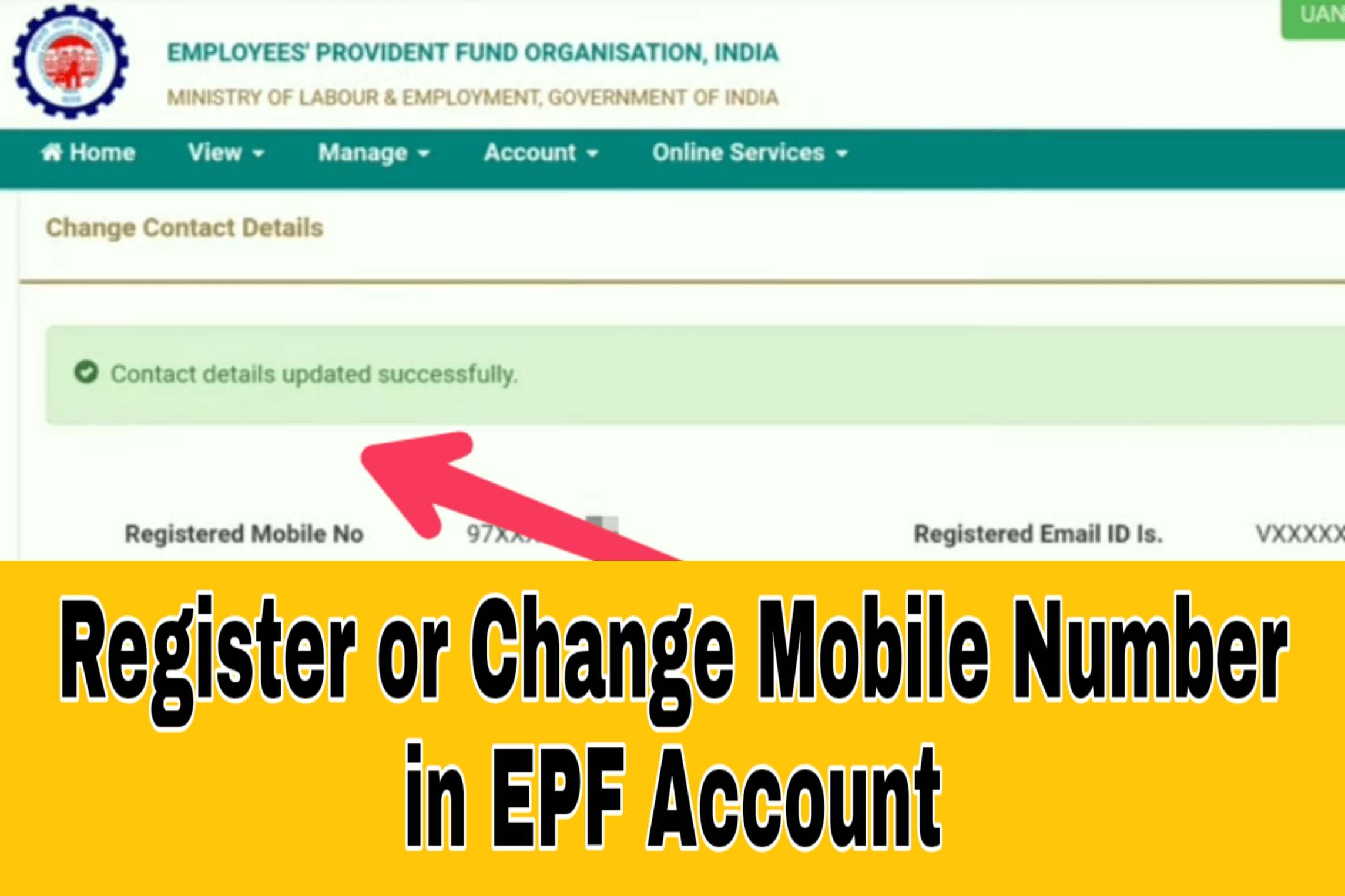 Register or Change Mobile Number in EPF Account
