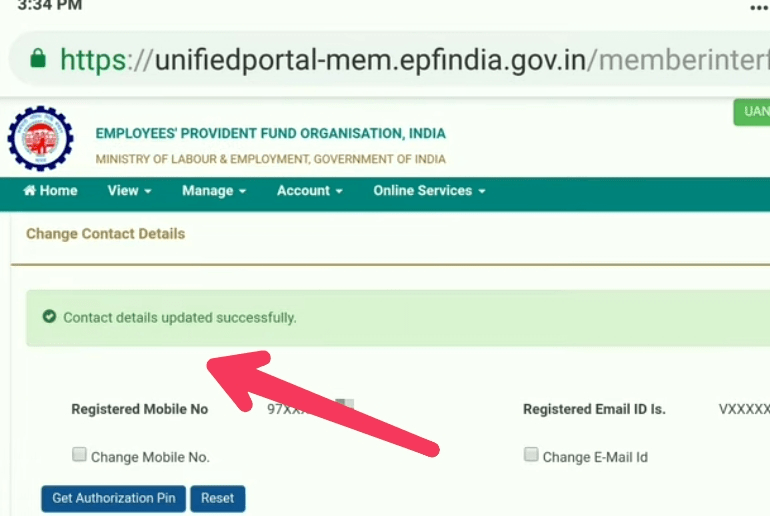 successfully mobile number changed